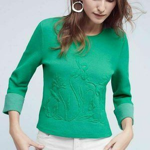 Anthropologie Moth Green St Patrick's Day sweater